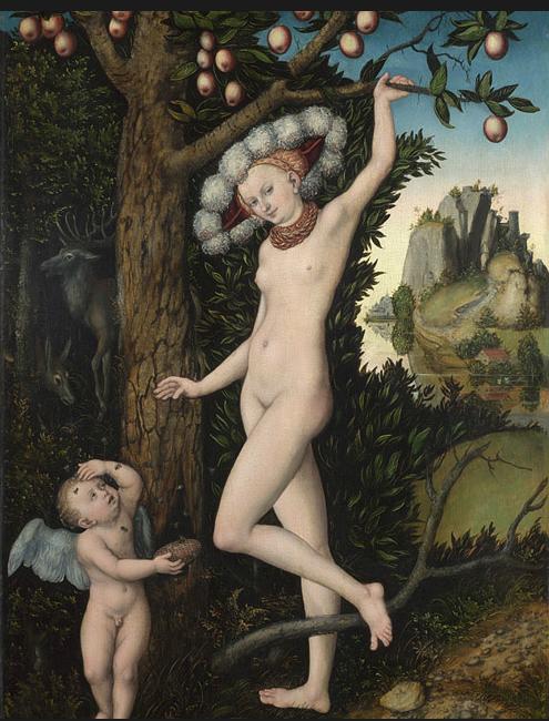 Cupid complaining to Venus (Cupido reclamando com Vênus) Lucas Cranach, o Velho, c. 1525 Londres,  National Gallery