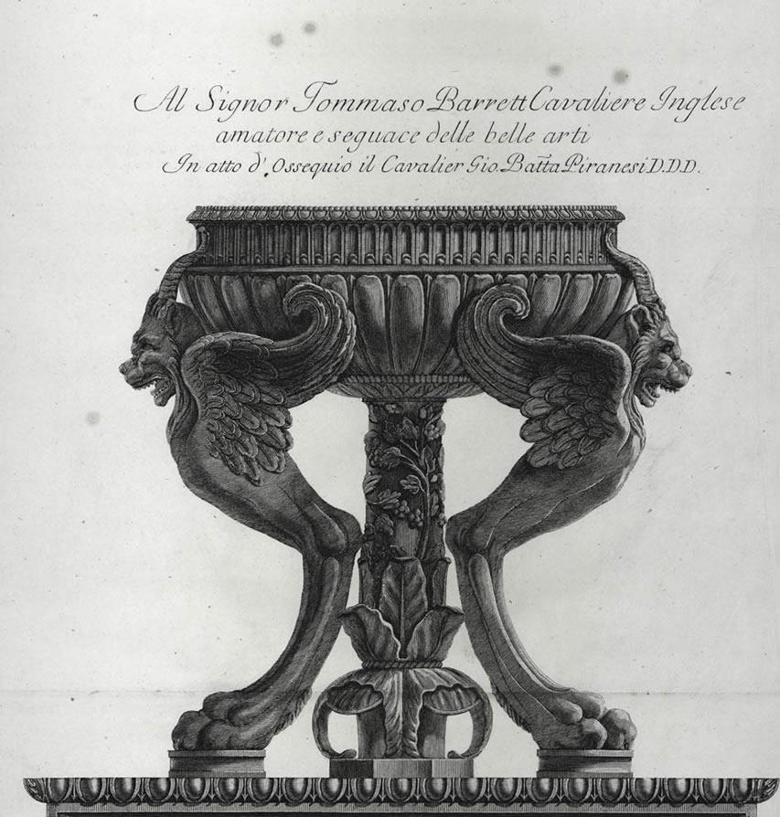 Desenho de Piranesi. In Vasi, candelabri, cippi, sarcofagi, tripodi, lucerne, ed ornamenti antichi disegnati ed incisi dal Cav. Gio. Batt. Piranesi, Rome 1778.