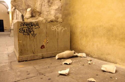 Imagem da devastação na Accademia di Brera. Foto: Nicola Vaglia, Corriere della Serra.