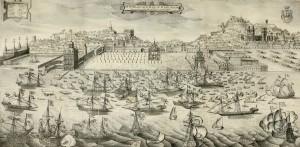 Desembarque de Filipe III na praça do Paço em Lisboa Domingos Vieira Serrão (desenho); Hans Schorkens (gravura). In Lavanha, 1662.