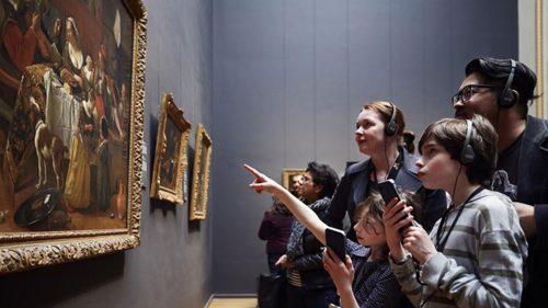 """Utilização da app com o jogo """"Make your own Vermeer"""" Amsterdão, Rijksmuseum."""