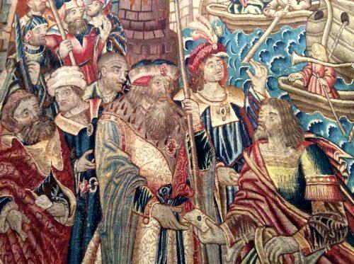 """Descobrimento das Índias (pormenor) Série """"À maneira de Portugal e da Índia"""" Manufatura de Tournai, c. 1504-1530 Lisboa, MNAA Foto: MIR, 2016"""