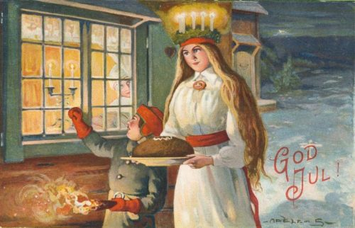 Cartão de Natal: Santa Luzia Adèle Söderberg, 1916